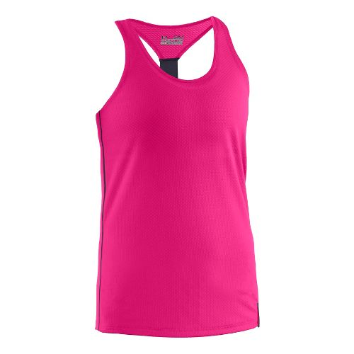 Womens Under Armour UA Fly-By Stretch Mesh Tank Technical Tops - Pink Paradise M