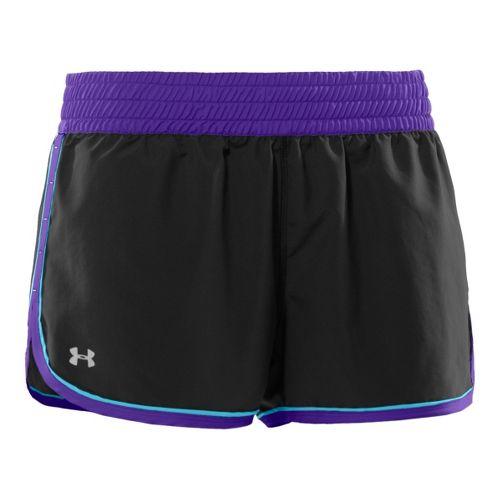 Womens Under Armour Great Escape Lined Shorts - Black/Purple Fizz M