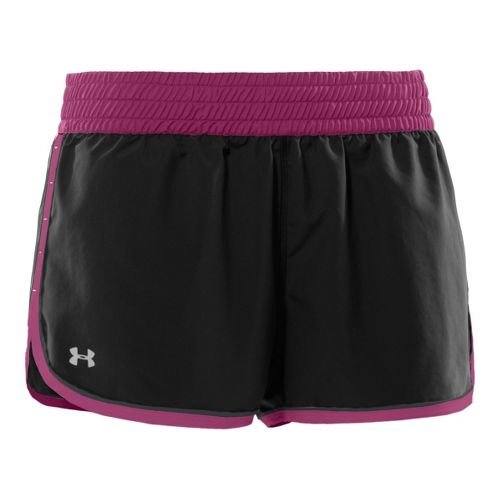Womens Under Armour Great Escape Lined Shorts - Black/Rosewood L