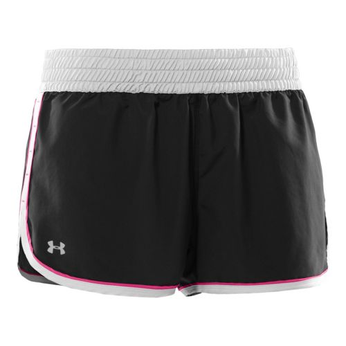 Womens Under Armour Great Escape Lined Shorts - Black/White/Neon Red L
