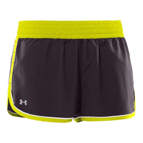 Womens Under Armour Great Escape Lined Shorts - Charcoal/Neon Yellow XL