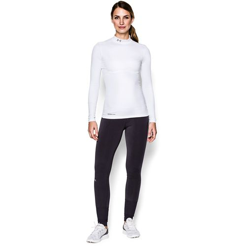Womens Under Armour ColdGear Fitted Mock Long Sleeve No Zip Technical Tops - White XL