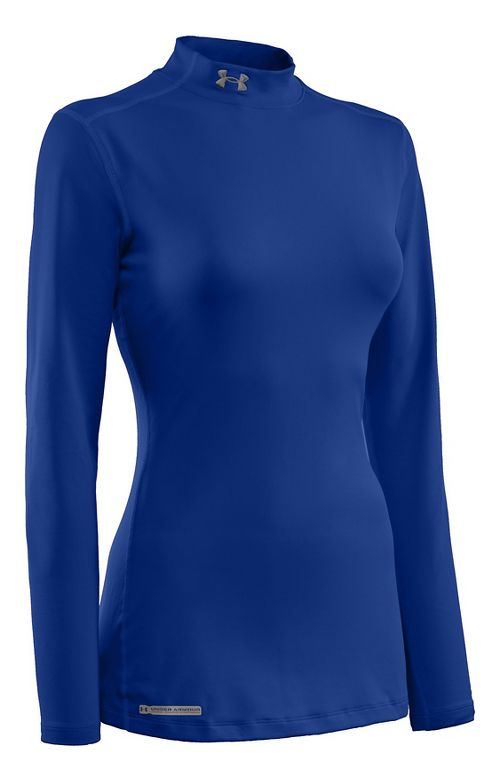 Womens Under Armour ColdGear Fitted Mock Long Sleeve No Zip Technical Tops - Royal XS