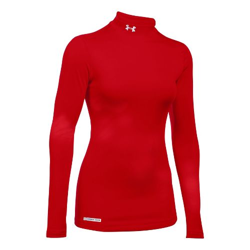 Womens Under Armour ColdGear Fitted Mock Long Sleeve No Zip Technical Tops - Red XXL