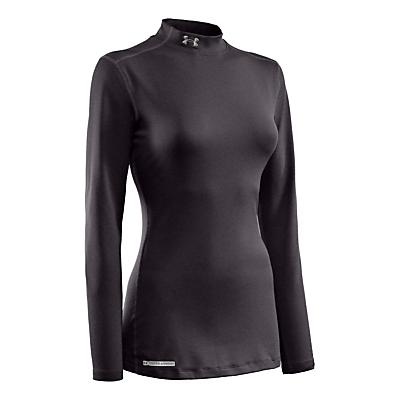 Womens Under Armour ColdGear Fitted Mock Long Sleeve No Zip Technical Tops