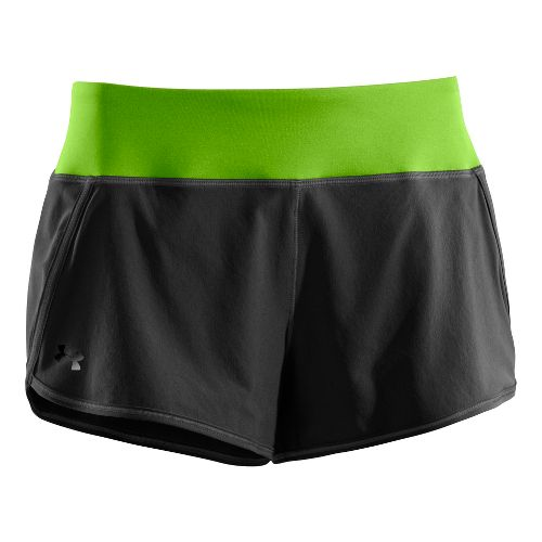 Womens Under Armour UA Get Set Go Lined Shorts - Black/Green XL