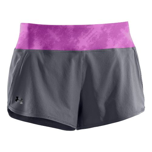 Womens Under Armour UA Get Set Go Lined Shorts - Dark Grey/Neon Purple XL
