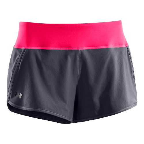 Womens Under Armour UA Get Set Go Lined Shorts - Dark Grey/Pink Paradise L