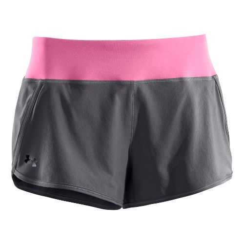 Womens Under Armour UA Get Set Go Lined Shorts - Graphite/Pink Shock XL