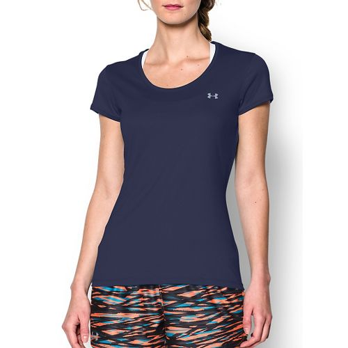 Womens Under Armour Heatgear Flyweight T Short Sleeve Technical Tops - Blue Knight M