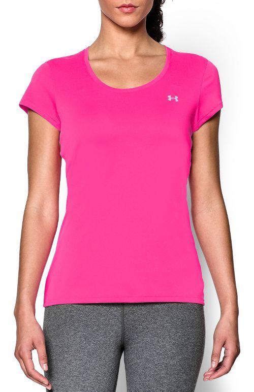 Womens Under Armour Heatgear Flyweight T Short Sleeve Technical Tops - Rebel Pink S