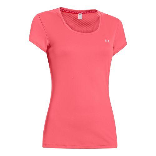 Womens Under Armour Heatgear Flyweight T Short Sleeve Technical Tops - Crystal Pink XL