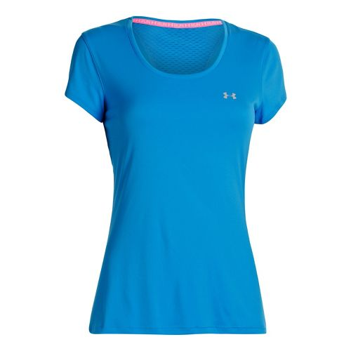 Womens Under Armour Heatgear Flyweight T Short Sleeve Technical Tops - Electric Blue L