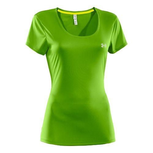 Womens Under Armour Heatgear Flyweight T Short Sleeve Technical Tops - Green S