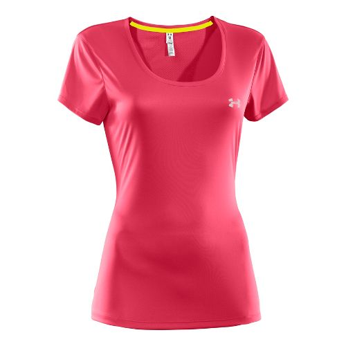 Womens Under Armour Heatgear Flyweight T Short Sleeve Technical Tops - Hibiscus L