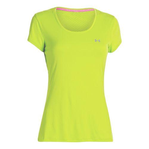 Womens Under Armour Heatgear Flyweight T Short Sleeve Technical Tops - Laser Yellow XL