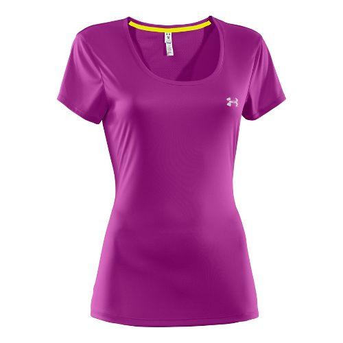 Womens Under Armour Heatgear Flyweight T Short Sleeve Technical Tops - Neon Purple L