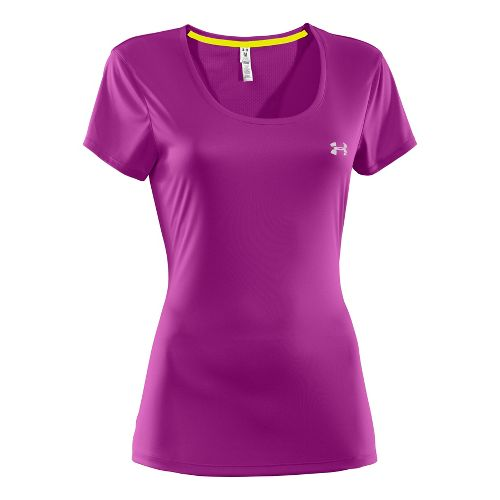 Womens Under Armour Heatgear Flyweight T Short Sleeve Technical Tops - Neon Purple M