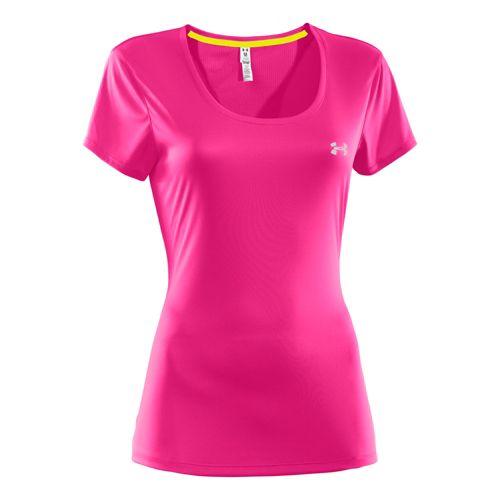 Womens Under Armour Heatgear Flyweight T Short Sleeve Technical Tops - Pink Paradise XL