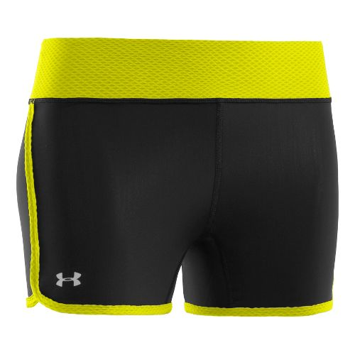 Womens Under Armour UA Fly-By Compression Fitted Shorts - Black/Neon Yellow M