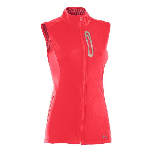 Womens Under Armour UA Coldgear Infrared Storm Running Vests - Neon Red L