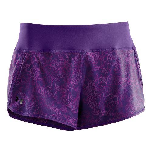 Womens Under Armour UA Get Set Go Printed Lined Shorts - Dark Purple M
