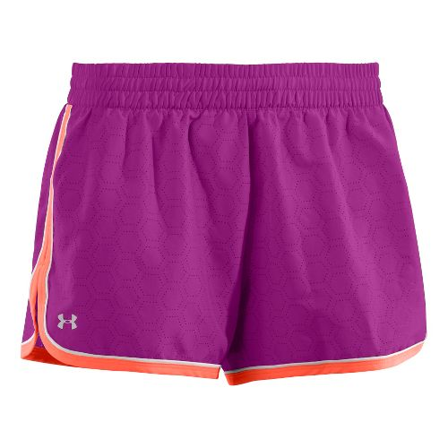 Womens Under Armour Great Escape II Perf Lined Shorts - Neon Purple L