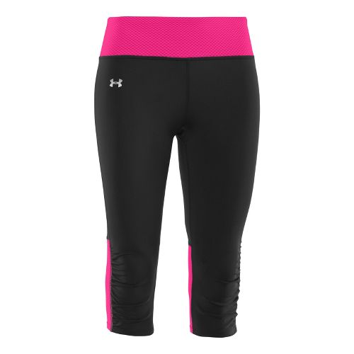 Womens Under Armour UA Fly-By Compression Capri Tights - Black/Pink Paradise S