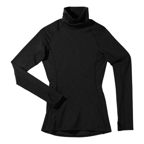 Womens Under Armour UA Coldgear Cozy Neck Long Sleeve No Zip Technical Tops - Black ...