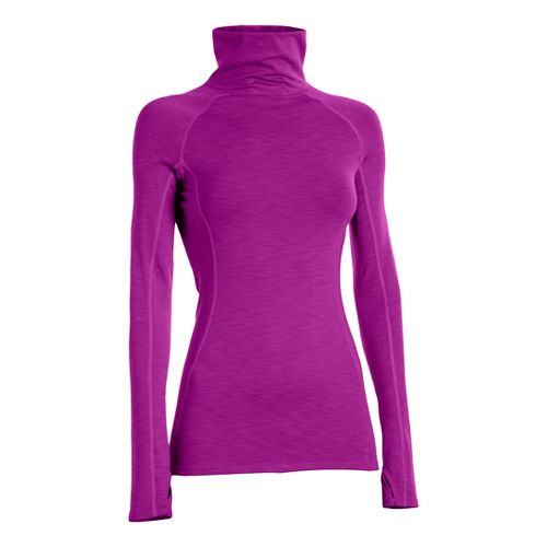 Womens Under Armour UA Coldgear Cozy Neck Long Sleeve No Zip Technical Tops - Neon ...