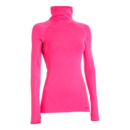 Womens Under Armour UA Coldgear Cozy Neck Long Sleeve No Zip Technical Tops - Pink ...