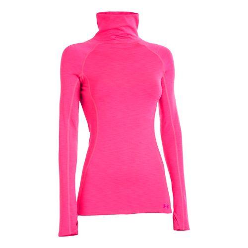 Womens Under Armour UA Coldgear Cozy Neck Long Sleeve No Zip Technical Tops - Pink ...