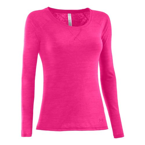 Womens Under Armour UA Ultimate Burnout Long Sleeve No Zip Technical Tops - Pink Paradise ...