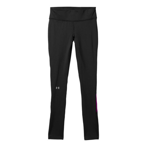 Womens Under Armour UA Qualifier Coldgear Fitted Tights - Black/Neon Purple L