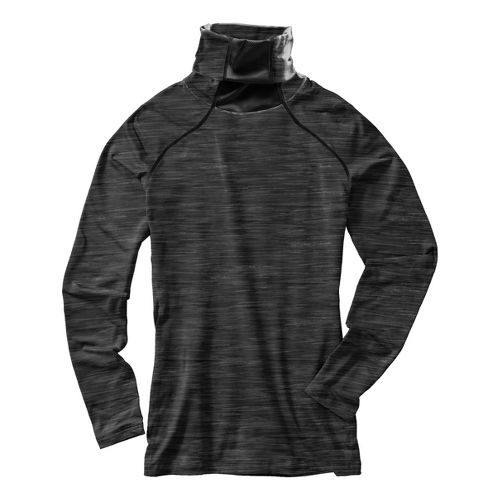 Womens Under Armour Run Printed T-Neck Long Sleeve No Zip Technical Tops - Black/Heather XL ...
