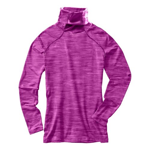 Womens Under Armour Run Printed T-Neck Long Sleeve No Zip Technical Tops - Neon Purple/Heather ...