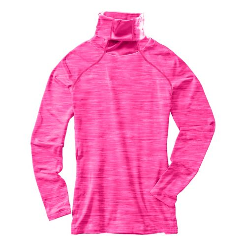 Womens Under Armour Run Printed T-Neck Long Sleeve No Zip Technical Tops - Pink ...