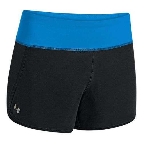 Womens Under Armour UA Get Going Lined Shorts - Black/Electric Blue XL