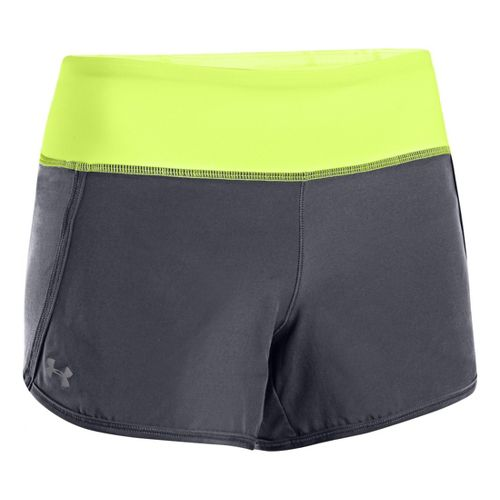 Womens Under Armour UA Get Going Lined Shorts - Graphite/Laser Yellow XL