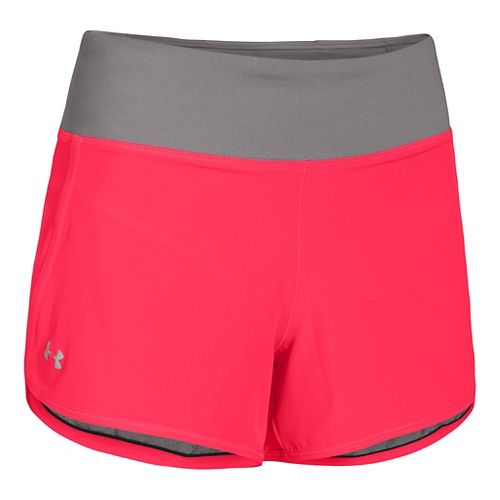 Womens Under Armour UA Get Going Lined Shorts - Neon Red/Grey L