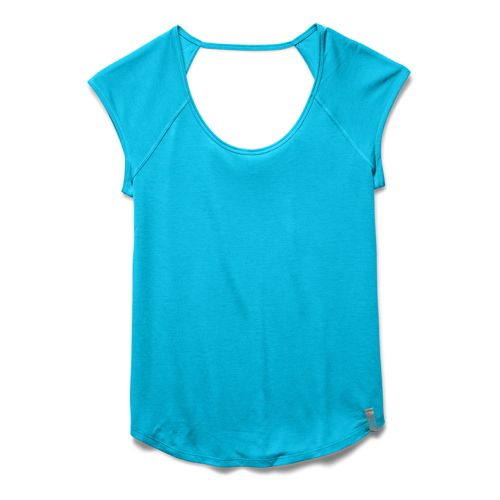 Womens Under Armour UA Fly-By T Short Sleeve Technical Tops - Island Blues XS