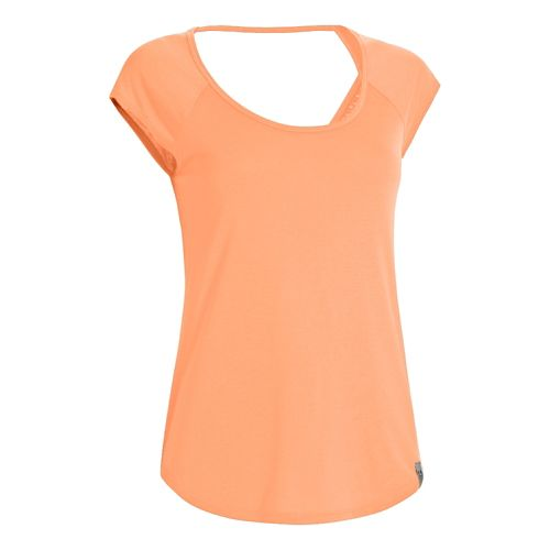 Womens Under Armour UA Fly-By T Short Sleeve Technical Tops - After Glow M