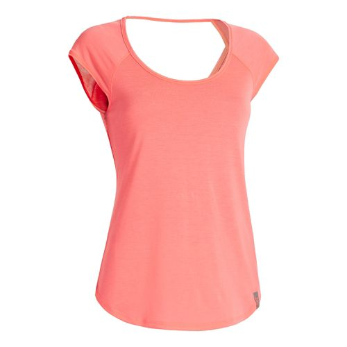 Womens Under Armour UA Fly-By T Short Sleeve Technical Tops - Crystal Pink L