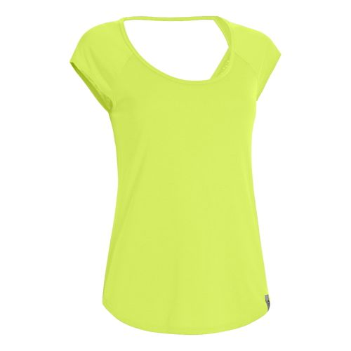 Womens Under Armour UA Fly-By T Short Sleeve Technical Tops - Laser Yellow XL