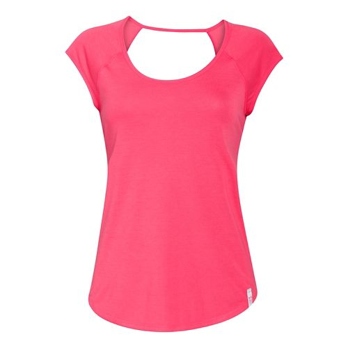Womens Under Armour UA Fly-By T Short Sleeve Technical Tops - Pink Shock M
