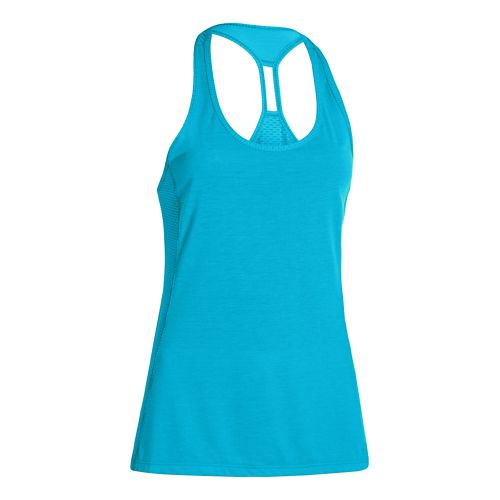 Womens Under Armour Fly-By Stretch Mesh Tank Technical Tops - Island Blues L
