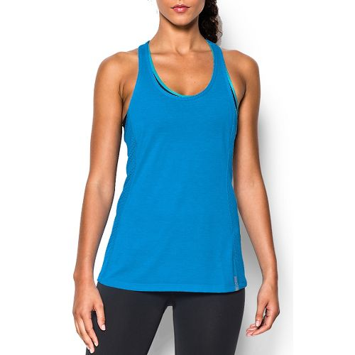 Womens Under Armour Fly-By Stretch Mesh Tank Technical Tops - Jazz Blue/Reflective L