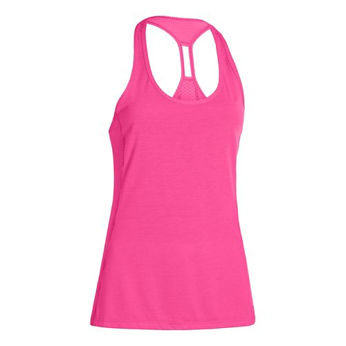 Womens Under Armour Fly-By Stretch Mesh Tank Technical Tops - Rebel Pink XL