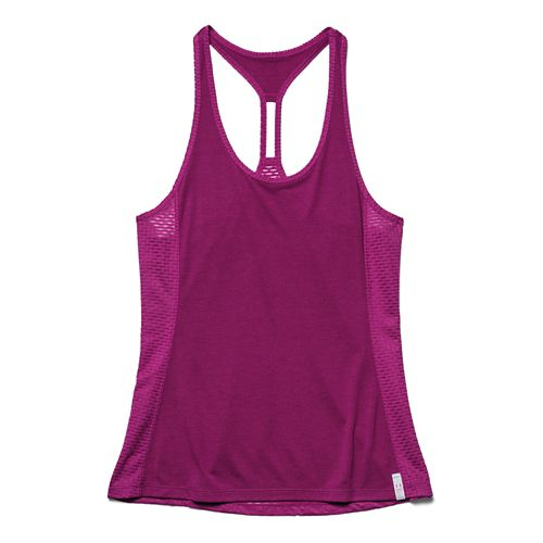 Womens Under Armour Fly-By Stretch Mesh Tank Technical Tops - Aubergine S