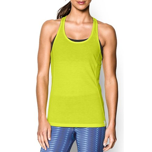 Womens Under Armour Fly-By Stretch Mesh Tank Technical Tops - Flash Light XL